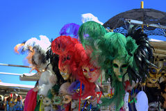Carnival masks street vendor stand Venice Royalty Free Stock Image