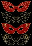 Carnival masks template, set of four graphic concepts Royalty Free Stock Image
