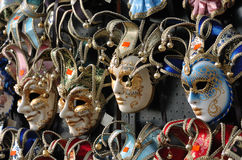 Carnival masks in Venice. Venetian carnival masks on a traditional shop for tourists Stock Photography