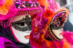 Carnival masks in Venice. The Carnival of Venice is a annual festival held in Venice, Italy. The festival is word famous for its e. Laborate masks royalty free stock photo