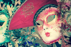 Carnival masks of the world most famous grand canal venice histo Royalty Free Stock Photos