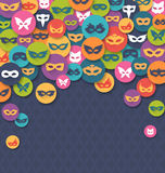 Carnival Masquerade Card with Colorful Masks on Blue. Background Royalty Free Stock Photo