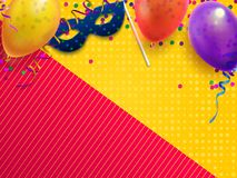 Carnival masquerade festive background. Kids birthday party with confetti, carnival mask and balloon vector illustration. Carnival masquerade festive background stock illustration