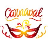 Carnival, masquerade, festive party calligraphic text symbol hand drawn vector illustration sketch Stock Photos