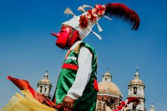 Carnival in Mexico, mexican dancers wearing a traditional mexican folk rich in color royalty free stock photography