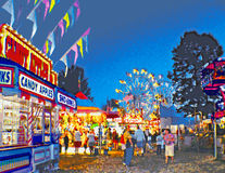 Carnival Midway at Twilight. Vector illustration of a carnival midway at twilight showing people around concession stands with flags flying and Ferris wheels in Royalty Free Stock Photography