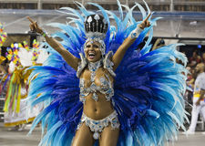 Carnival Muse Samba Dancer Brazil - Cintia Mellow. São Paulo, Brazil- February 7, 2016: Brazilian model and professional samba dancer, Cintia Mellow performing Royalty Free Stock Photography
