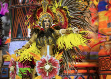 Carnival Muse Samba Dancer Brazil. São Paulo, Brazil- February 7, 2016: Brazilian samba dancers performing in costume for the samba school Academicos do Royalty Free Stock Photo