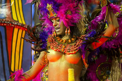 Carnival Muse Samba Dancer Brazil. São Paulo, Brazil- February 7, 2016: Brazilian samba dancers performing in costume for the samba school Academicos do Royalty Free Stock Photos