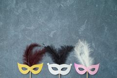 Carnival and New year party background with carnival masks photo booth props stock images