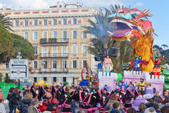 Carnival of Nice in French Riviera. This is the main winter event of the Riviera. The theme for 2013 was King of the five continen. NICE, FRANCE - FEBRUARY 26 Royalty Free Stock Photography