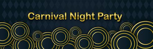 Carnival Night Party banner with gold Lettering. Masquerade Masks on a black backdrop. Mardi Gras invitation card. Carnival Night Party horizontal banner with stock illustration
