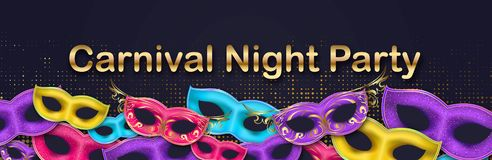 Carnival Night Party banner with gold Lettering. Masquerade Masks on halftone effect backdrop. Mardi Gras invitation. Carnival Night Party horizontal banner with stock illustration