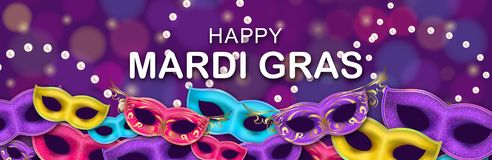 Carnival Night Party banner with a Lettering. Masquerade Masks on patterned backdrop. Mardi Gras invitation card. Happy Mardi Gras Carnival Party horizontal royalty free illustration