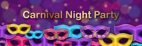 Carnival Night Party banner with gold Lettering. Masquerade Masks on shiny bokeh background. Mardi Gras invitation card vector illustration
