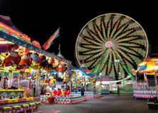 Carnival at Night. Picture of a carnival ground and rides at the state fair in Phoenix, Arizona. Picture taken at night with a long exposure stock images