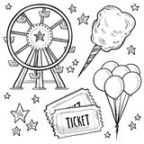 Carnival objects sketch. Doodle style amusement park or carnival equipment sketch in vector format. Includes cotton candy, ferris wheel, balloons, and ticket Royalty Free Stock Photos