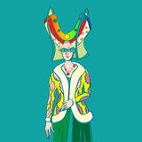Carnival outfit. Inspired by a medieval costume, hand drawn cartoon illustration over a turquoise background, Mardi Gras card Stock Photography