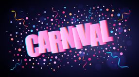 Carnival overlapping festive lettering with colorful round confetti vector illustration