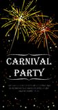 Carnival paery flyer with realistic yellow and orange firecracker. stock image
