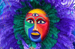 Carnival painted face mask. Close up of a painted face mask during the Notting Hill Carnival in London, August 2014 Stock Photos
