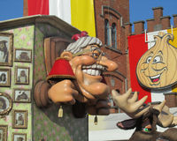 2015 Carnival Parade Aalst. AALST, BELGIUM, 15 FEBRUARY 2015: A caricature of Kamiel Sergant during the famous carnival parade in Aalst. He is a local celebrity Stock Photo