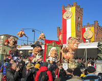 2015 Carnival Parade Aalst. AALST, BELGIUM, 15 FEBRUARY 2015: Crowds line the streets to watch the annual carnival parade in Aalst, which is a UNESCO recognized Royalty Free Stock Image