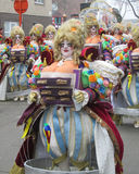 2015 Carnival Parade Aalst. AALST,BELGIUM, 16 FEBRUARY 2015: Unknown participants colorfully dressed in costume during the annual carnival parade in Aalst, which Royalty Free Stock Images