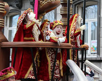 Carnival Parade Aalst 2016. AALST, BELGIUM, FEBRUARY 7 2016: Unknown participants colorfully dressed in costume during the annual carnival parade in Aalst, which Royalty Free Stock Photos