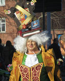 2014 Carnival Parade Aalst. AALST, BELGIUM, MARCH 03 2014: Unknown Aalst carrnival participant dances in the annual parade. The Carnival is recognized by UNESCO Royalty Free Stock Images