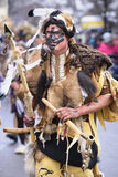 Carnival parade in Bavaria with colorful costums. Bad Hindelang, Germany - Februar 15, 2015: Unknown person participates at the annual public carnival parade Royalty Free Stock Photography