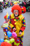 Carnival parade with clown. Bad Hindelang, Germany - Februar 15, 2015: Unknown person participates at the annual public carnival parade through the streets of Stock Photo