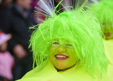 Carnival parade with clown. Bad Hindelang, Germany - Februar 15, 2015: Unknown person participates at the annual public carnival parade through the streets of Royalty Free Stock Images