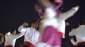 Carnival parade in colonial town Campeche. February 27, 2017 Mexico, Campeche. Carnival, dance and parade in colonial town, people in tradition clothes dancing stock footage