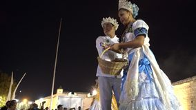 Carnival parade in colonial town Campeche. February 27, 2017 Mexico, Campeche. Carnival, dance and parade in colonial town, participants and winners of carnival stock video footage