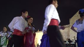 Carnival parade in colonial town Campeche. February 27, 2017 Mexico, Campeche. Carnival, dance and parade in colonial town, people in tradition clothes on scene stock video