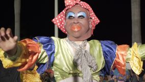 Carnival parade in colonial town Campeche. February 27, 2017 Mexico, Campeche. Carnival, dance and parade in colonial town, unrecognizable participant walking in stock video