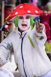 Carnival parade with colorful costums. Bad Hindelang, Germany - Februar 15, 2015: Unknown person participates at the annual public carnival parade through the Royalty Free Stock Photography