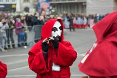 BASEL, SWITZERLAND - FEB 21. Carnival parade on Feburary 21, 2018 at Basel. The biggest cortege in Switzerland is a historically annual event with many costumed Stock Images