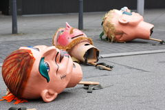 Carnival parade in Mannheim, Germany, oversized masks on the street Royalty Free Stock Image