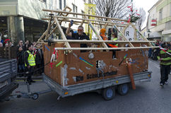 Carnival parade  in Tulln. Float with illicit workers at the carnival parade in the year 2016 at Tulln, Austria Stock Images