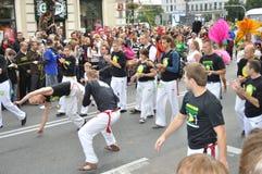 Carnival Parade in Warsaw. Capoeira show during Carnival Parade - Bom Dia Brasil Royalty Free Stock Image