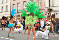 Carnival Parade in Warsaw. Participants in the Carnival Parade - Bom Dia Brasil Royalty Free Stock Images