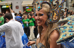 Carnival Parade in Warsaw. Participants in the Carnival Parade - Bom Dia Brasil Royalty Free Stock Photos