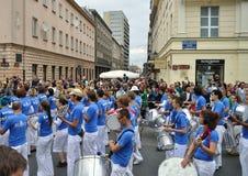 Carnival Parade in Warsaw. Participants in the Carnival Parade - Bom Dia Brasil Royalty Free Stock Photo