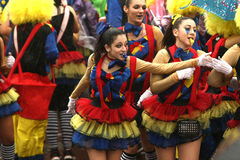 Carnival Parade in Xanthi, Greece. XANTHI, GREECE - marth 2, 2014: Unidentified friends dressed in colorful costumes during the annual Carnival Parade in Xanthi Stock Image