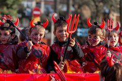 Carnival parades in Barcelona of Spain Royalty Free Stock Image