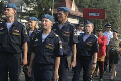 Carnival participants military parachuting Stock Photo