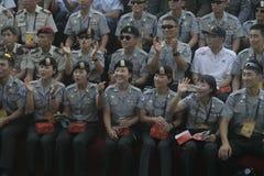 Carnival participants military parachuting Stock Image