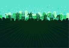 Carnival & Party. Hand drawn cartoon people background Royalty Free Stock Photo